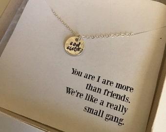 Soul Sister Necklace | Best Friend Necklace | More than Friends | Sister Necklace | Friendship Jewelry | Personalized Necklace