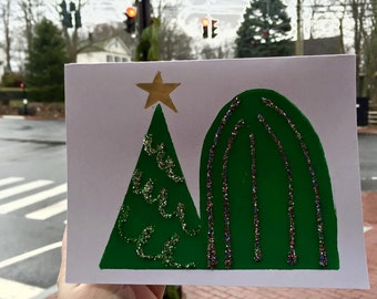 Twin Christmas Trees - One Handmade Greeting Card with Envelope