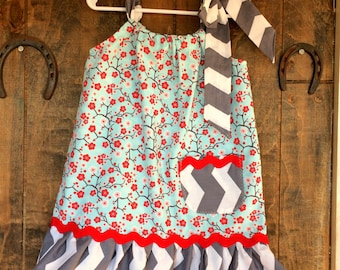 Cherry Blossoms - Red flowers on aqua blue with grey and white chevron - Girls ruffle Pillowcase dress Sizes 18M to 10 Years