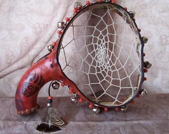 Medium Brick dream catcher tambourine, wood burned kokopelli and bear paw.   1948