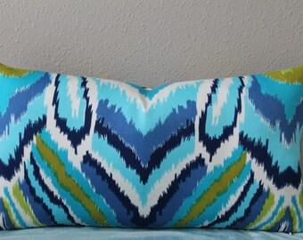 """BOTH SIDES - 12"""" x 22"""" Trina Turk Peacock/Ikat print - POOL Color Way Decorative Designer Lumbar Pillow Covers"""