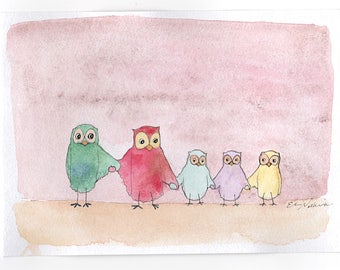 owl painting, love, original watercolor, owl wall decor, owl lover, watercolour, equality, owl home decor, love is love, love is for all
