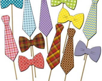 Necktie Photo Props, Bowtie Photo Props, Photobooth Party Props, Mustaches on a Stick, Little Man Party, Father's Day Photo Props - DP414