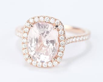 CERTIFIED - GIA Certified Oval Light Peach Pink Sapphire & Diamond Cushion Halo Engagement Ring 18K Rose Gold