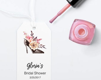 Glam Bridal Shower Favor Tags, Large Gift Bag Tag with Black Shoe and Flowers - Size 2 x 3.5 inches, Printed Tags