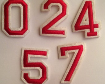 Vintage 90's Made in Italy letters numbers embroidered patch   white/red  Appliques