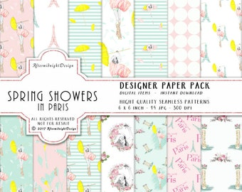 Spring Showers Paper Pack Summer Fashion Patterns Eiffel Tower, Roses Paris clipart Watercolor Backgrounds Planner Supplies