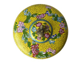 Antique China Cloissone Lidded Round Decorative Box,  Bronze Fu Dog Finial Enamel Brass