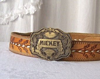 Vintage Belt Buckle Monogram Mickey Belt Buckle Western Style Cowboy Accessory 1970s