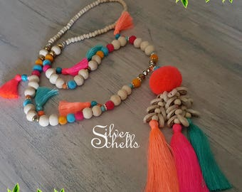 Romantic Playful Tassel Hippie Boho Chic Long Sea Shells Beaded Necklace Hot Pink Turquoise Orange