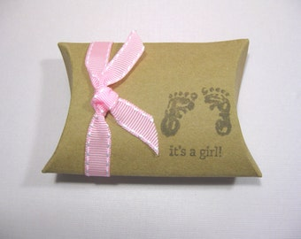 Set of 10 Kraft Pillow Boxes - Baby Girl Favor Boxes - It's a Girl -  Baby Foot Prints - Baby Shower Favor Boxes - Baby Girl Shower