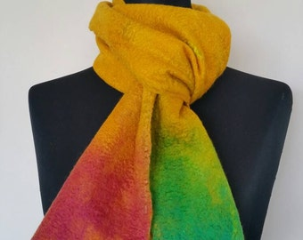 Yellow, red & green mulberry silk and merino wool wet felted scarf  'Absolutely Fabulous'