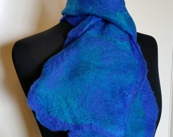 Dark Blue felted fine merino wool scarf with deep blue mulberry silk surface decoration 'Deep Blue Sea'