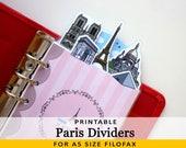 PRINTABLE A5 Size Cute Kawaii Paris DIY Dividers 5 Top Tabs for Filofax Kikki.K Louis Vuitton Planner Instant Download