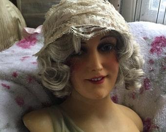 Vintage Ivory Lace  Night Bonnet Cap Nightcap Hat Shabby Chic A34