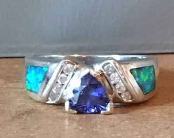 TANZANITE OPAL Synthetic Cubic Zirconia STERLING Silver Ring Size 7.25
