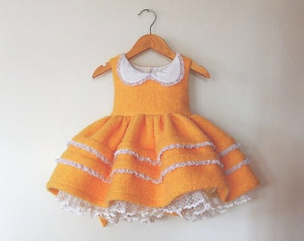 Fuzzy Yellow Chickadee Vintage Inspired Tea Party Dress with Lace Trimmed Peter Pan Collar and Petticoat