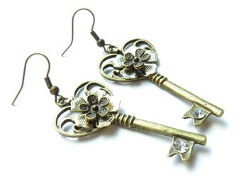 Key Antique Brass Earrings