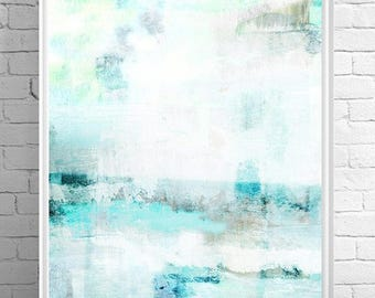 ocean art, ocean abstract, beach poster, abstract beach art, beach art, california beach, large poster, art print, collage art, mixed media