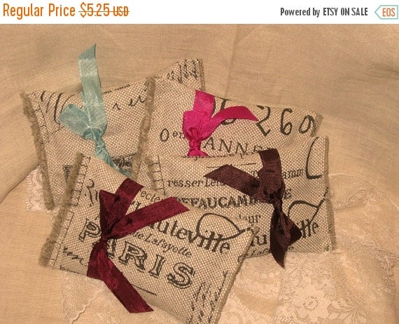 Christmas Sale Vintage Burlap French Market Sachet Handmade Filled  with French Lavender