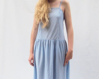 Blue SLIP DRESS, vintage,  high leg slit, Semi Sheer, Simple,  medium