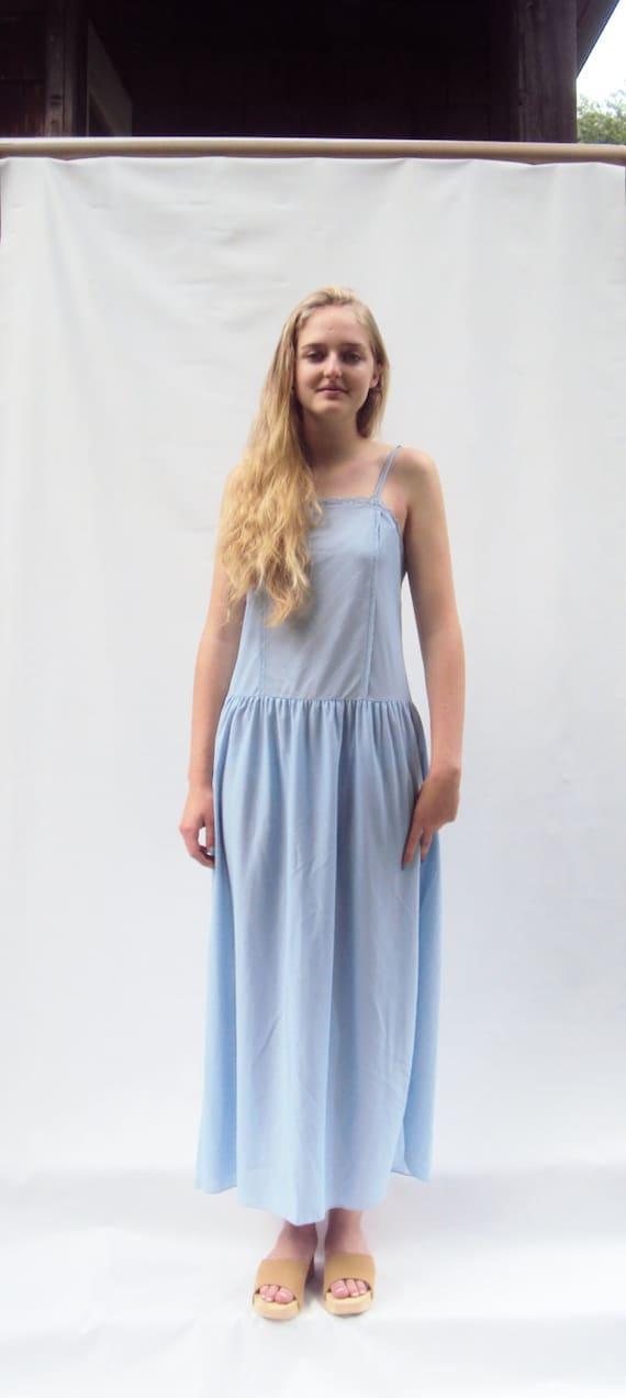 Blue SLIP DRESS, minimalist vintage,  Semi Sheer, Simple,  medium