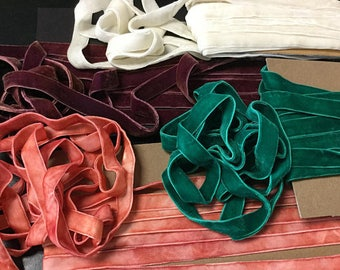 "5/8"" Wide (16 mm) Luxurious Double Sided Reversible Velvet Ribbon Trim Ivory Coral Green Marsala Two Faced / Gift Wrap Sewing Millinery"