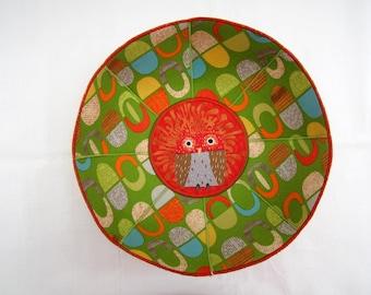 Time Capsules fabric bowl mod retro owl spring green orange turquoise