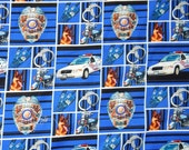 cotton quilt fabric blue police BTY badge car handcuffs grid square law enforcement Line of Duty motorcycle dog canine officer check yard OP