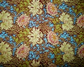 cotton quilt fabric floral print Kaffe Fassett Winding Floral Westminster Fibers 16 in X44 in brown green blue yellow orange vine OOP flower