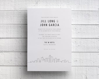 Seattle Wedding Invitation, Seattle Skyline Invite, Seattle Invitation, Seattle Event, Seattle Party, Space Needle, PDF, JPEG