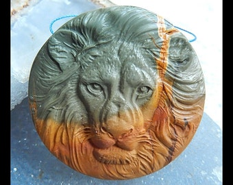 Handmade Carved Multi-Color Picasso Jasper Gemstone Lion Pendant Bead,50x13mm,44.3g(a0759)