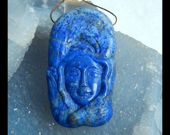 Carved Lapis Lazuli Mermaid And Bird Gemstone Pendant Bead,58x32x9mm,35.7g(e0699)