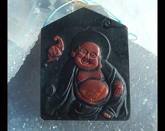 Carved Multi-Color Picasso Jasper,Obsidian Intarsia Smiling Buddha Pendant Bead,49x38x7mm,27.2g(e0780)