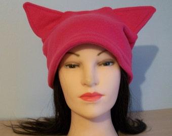 Dark Pink Pussycat Kittycat Cat Hat Fleece Protest