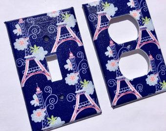Paris Light Switchplate / Paris Bedroom Decor / Paris Nursery Decor/ Pink Paris Decor / Paris Bathroom / Eiffel Tower Decor/ Pink Navy Decor