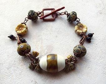Copper Beaded Bracelet, Rustic Bracelet, Lampwork, Copper Chain, Black, Olive