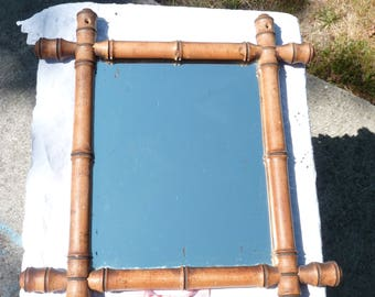 french vintage faux bamboo mirror 1920s mirror wall hanging rustic french decor