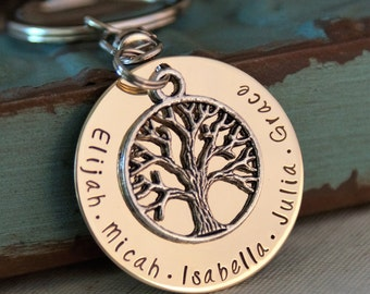 Grandma key chain - Personalized Keychain - Hand Stamped - Branches of the same tree