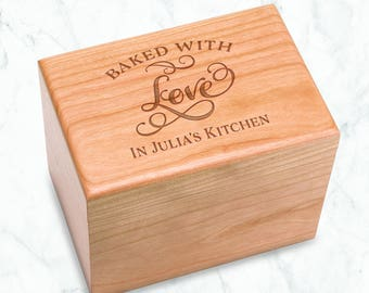 Baked with Love Personalized Cherry Recipe Box Engraved - 4x6 inch recipe cards birthday, chef, kitchen bridal shower