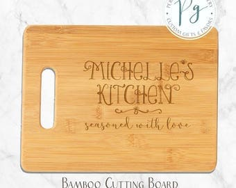Seasoned with Love Personalized Bamboo Board, Personalized Cutting Board with Any Name, Engraved Cutting Board, Bar Board, Engraved Bamboo