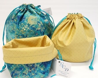 Square bottom drawstring bags in Regal Teal in three sizes - Reversible