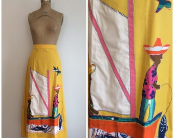 1970s Caribean Calypso Yellow Maxi Skirt 70s The Crab Hole