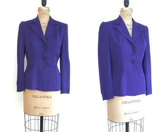 1940s Purple Gabardine Blazer Suit Jacket 40s Lampl