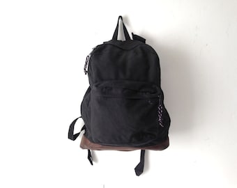 LEATHER and nylon BLACK jansport style leather vintage 90s BACKPACK day pack
