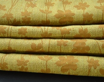 Vintage Upholstry Fabric Yellow and Brown Floral 1 1/2 yards
