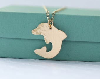 Dolphin Necklace - Textured Gold Dolphin Necklace - Dolphin Jewelry - Gold Brass Necklace - Ocean Sea Charm Necklace - Beach Jewelry -