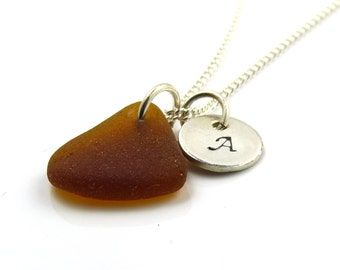 Personalized Sterling Silver Disc and Amber Sea Glass Necklace