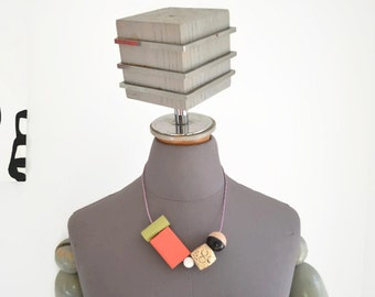 Chunky Statement Necklace - Wearable Art - Hand Painted - Wood Beads - Modern