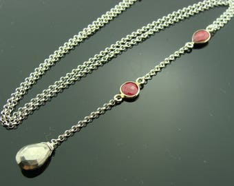 Ruby and Pyrite 925 Sterling Silver Gemstone Y Necklace